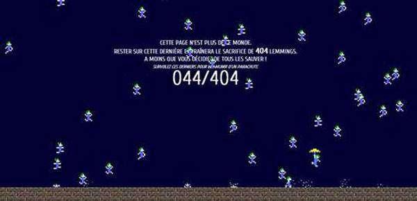Une page 404 avec les Lemmings