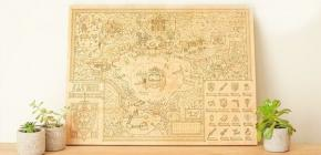 The Legend of Zelda - une carte gravée sur bois splendide du monde d'Hyrule